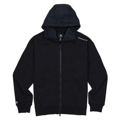 Mixed Media Full-Zip Hoodie