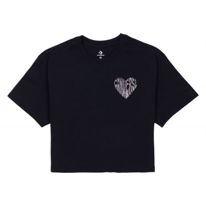 CONVERSE CROPPED BURNOUT HEART T-SHIRT